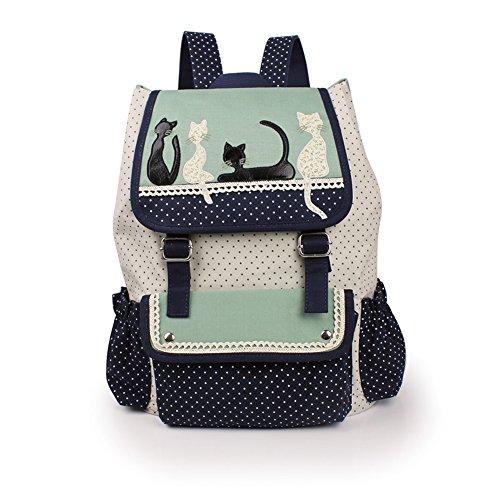 School Dot Bags Backpacks Girls Demin Bow Cute Bookbags Student Laptop Backpack School Bag Travel Daypack Handbag for Teenage (Style_3)