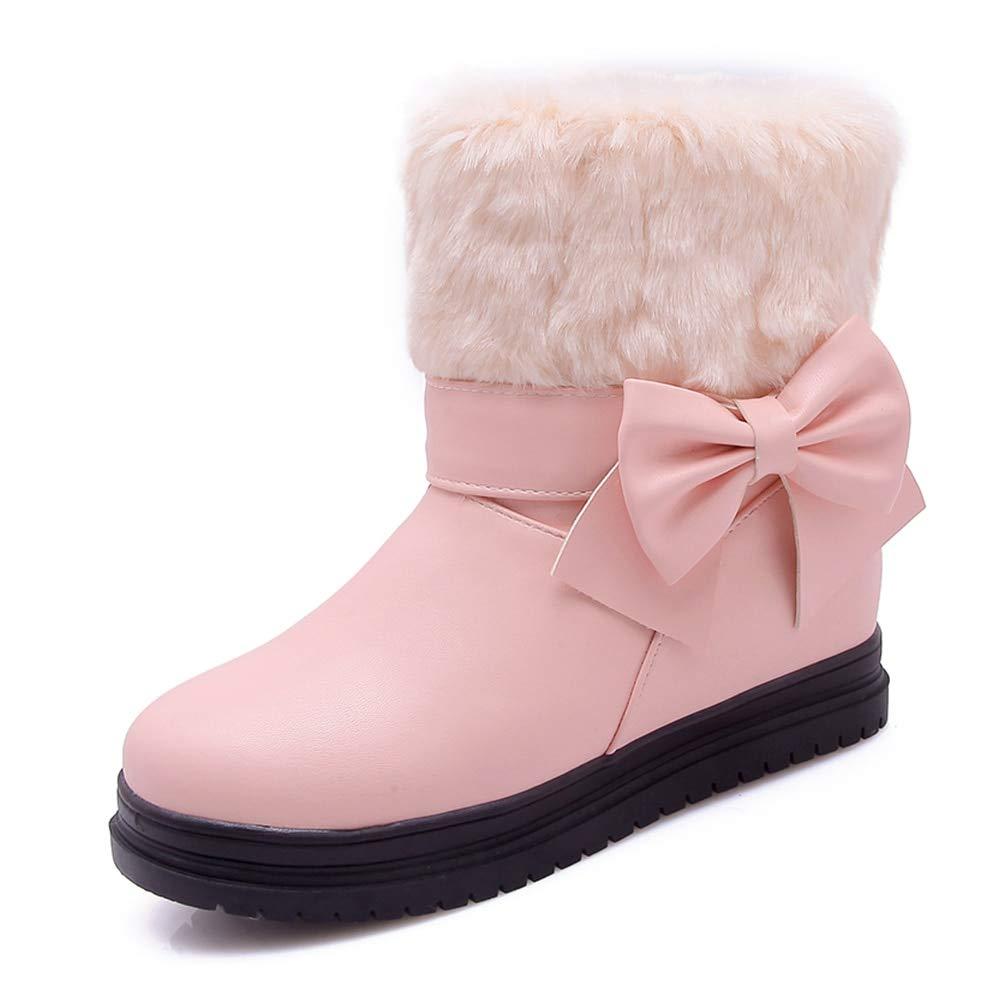 rose HOESCZS HOESCZS 2018 Taille 34-39 Talons Doux Bowtie Femmes Chaussures Femme Bottes Chaud Fourrure Bottines Bottes Lady Chaussures  centre commercial de la mode