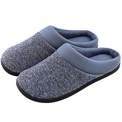 Mens Comfort Breathable Cotton Memory Foam House Slippers Slip On Shoes Indoor/Outdoor