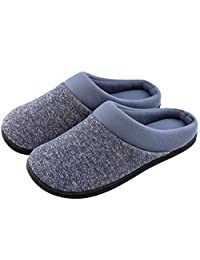HomeTop Men's Comfy Memory Foam Slip On House Slippers Washable Indoor/Outdoor Shoes