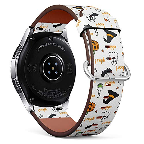 Compatible with Samsung Galaxy Watch (46mm) - Quick-Release Leather Band Bracelet Strap Wristband Replacement - Halloween Words Lettering Items -