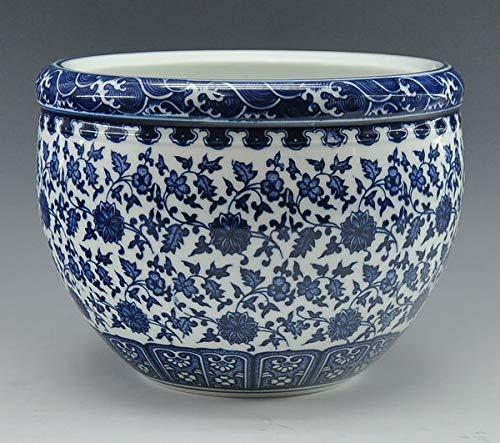 - Fotcus - Chinese antique qing qianlong mark blue and white porcelain ceramic fish bowl flower pot - (Color: flower design)