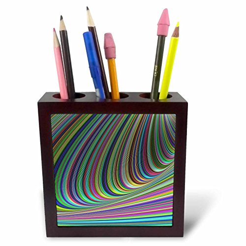 3dRose David Zydd - Colorful Abstract Designs - Curved Illusion - Computer Generated Abstract Design - 5 inch Tile Pen Holder (ph_284086_1) ()
