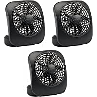 O2Cool FD05004BLK 5 Black 2 Speed Battery Operated Camping Fans - Quantity 3