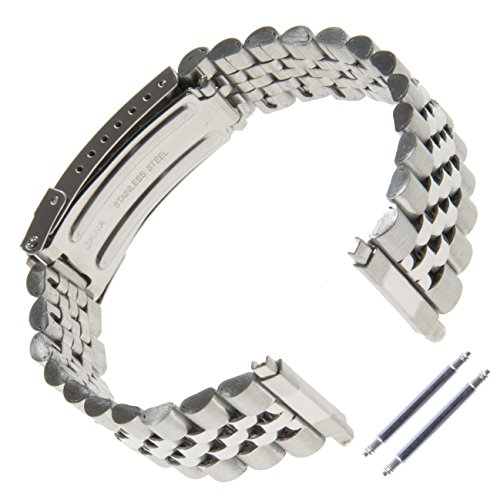 Gilden Unisex Jubilee-Style Non-Expansion 18-23mm Extra-Long Stainless Steel Watch Band 1542-SL (Plated Watch Band Gold Rolex)