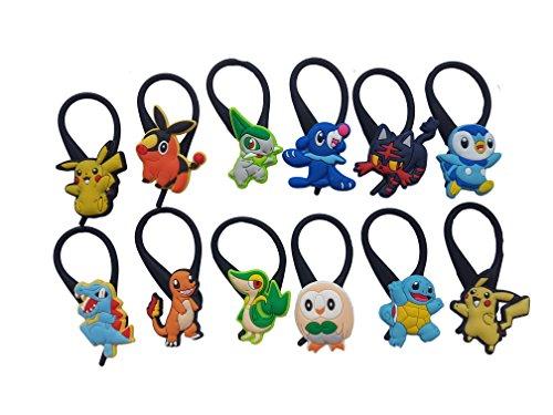 AVIRGO 12 pcs Black Soft Clothes And Bags Decoration Zipper Pull Keyring Carabiner Set # 116 - 3 - Calem Pokemon Costume