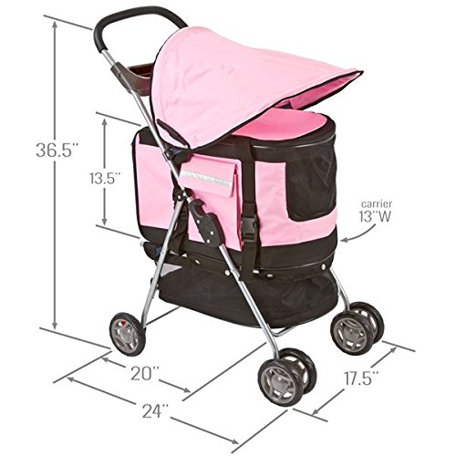 Pink Pet Stroller, Carrier and Car Seat All-in-One by Discount Ramps (Image #6)
