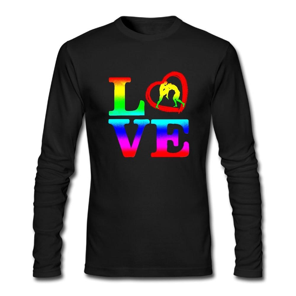 Rainbow Love Wrestling Men's Long Sleeve Crewneck T-Shirt by HUDS VIFV