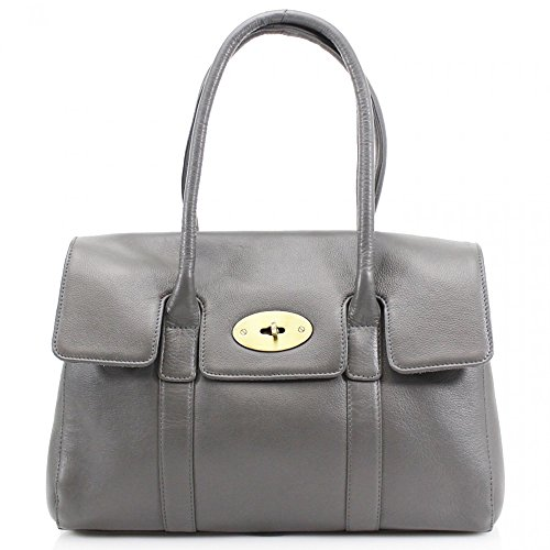 Handbags Size Real GREY W37cm LEATHER Tote Large D15cm x Bag Women's Shoulder Leather x BAG Leather LeahWard H45cm Genuine dqXRwII