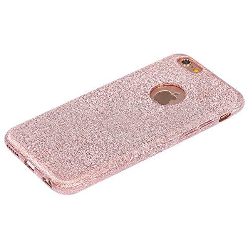 Funda Case para iPhone 6 iPhone 6S 4.7, Ukayfe 3D Crystal Creativa Lujo Moda Sparkle Glitter Bling Cover Funda Caja ,Protectora Carcasa Bling del brillo del Plastica transparente Carcasa Cubierta Shel Oro rosa de cristal