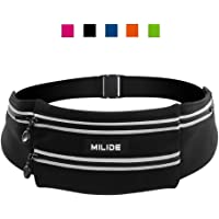 Milide Running Waist Bag Belt With Reflective Strips (Black)