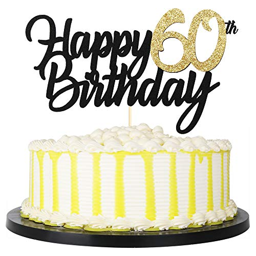 PALASASA Black Gold Glitter Happy Birthday cake topper - 60 Anniversary/Birthday Cake Topper Party Decoration (60th) -