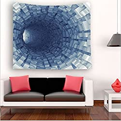 Nalahome-Outer Space Decor Endless Tunnel with Fractal Square Shaped Segment Digital Dimension Artwork Gray tapestry psychedelic wall art tapestry hanging 27.5W x 27.5L Inches 59W x 59L Inches