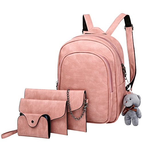 Vbiger 4-in-1 PU Leather Backpack Purse Set Fashion Backpacks with Shoulder Bag Handbag Card Holder for Women and Girls by VBIGER