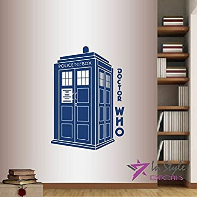 Wall Vinyl Decal Home Decor Art Sticker Doctor Who Phrase Words Tardis Police Box Room Removable Stylish Mural Unique Design For Any Room Creative Design Logo House