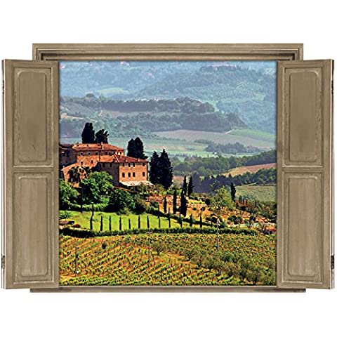 Walls 360 Peel & Stick Wall Decals: Window Views Tuscany (36 in x 27 in) (Tuscany Mural)