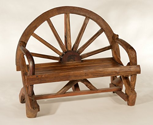 Half Wagon - Teak West Half Wagon Wheel Bench in Reclaimed Teak