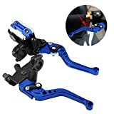 """1 Pair Motorcycle Brake and Clutch Levers Universal Brake Clutch Master Cylinder Reservoir Levers 7/8""""(22mm) (Blue)"""