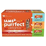 IAMS PURRFECT DELIGHTS Pate Adult Wet Cat Food, Variety Pack Salmon, Chicken & Turkey, 3 oz. (Pack of 18)