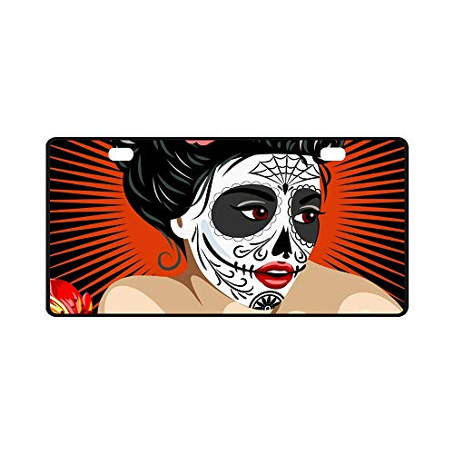 INTERESTPRINT Halloween Mexican Girl's Death in Sugar Skull Make-Up Metal License Plate Tag Sign Decoration for Car Woman Man - 11.8