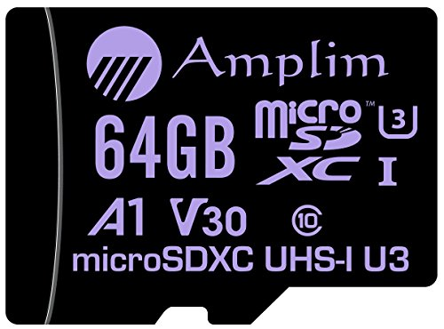 64GB MicroSDXC Card Plus SD Adapter Pack. Amplim 64 GB V30 A1 Ultra High Speed 667X 100MB/s UHS-1 Micro SDXC TF Flash Memory. Class 10 U3 UHS-I MicroSD XC Extreme Pro for Phones, Drones, 4K Cameras by Amplim (Image #1)