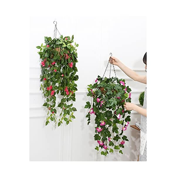 Lopkey Silk Rose Artificial Flowers Hanging Basket Decor,Red