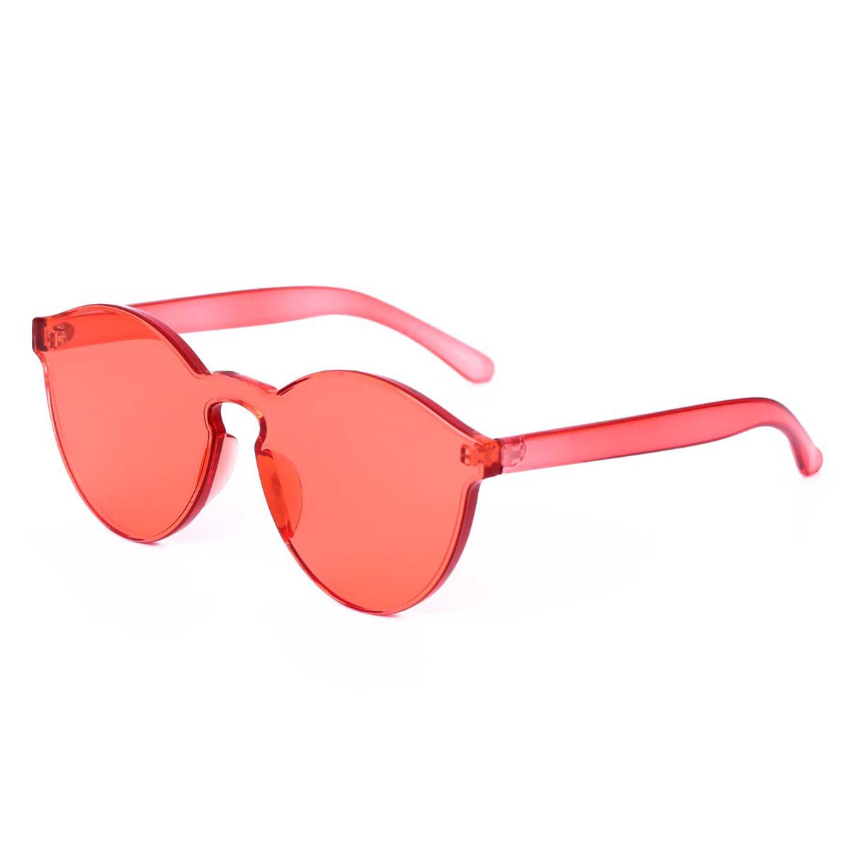 WISH CLUB Cat Eye Rimless Sunglasses for Women Oversized Lightweight Transparent Glasses Candy Color Eyewear (Red)