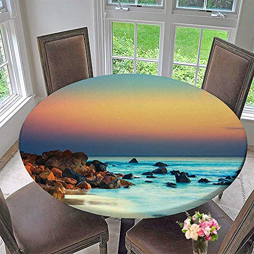 (Mikihome Modern Simple Round Tablecloth Collection Colorful Sunset Over The Sea Stones on Foreground Caribbean Coast Scenery Picture Decoration Washable 50