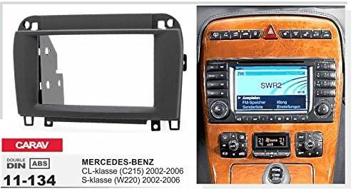 2002-2006; S-klasse Black CARAV 11-134-24-7 Radioblende Car 2-DIN in Dash Installation kit Set for Mercedes-Benz CL-klasse 2002-2006 C215 + ISO and Antenna Adapter Cable W220