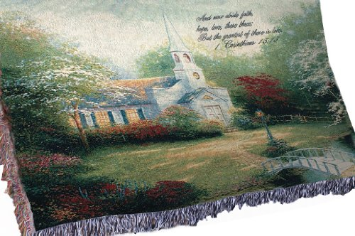 Manual Inspirational Collection Tapestry Throw with Verse, Hometown Chapel by Thomas Kinkade, 60 X - Country Birdhouse Church