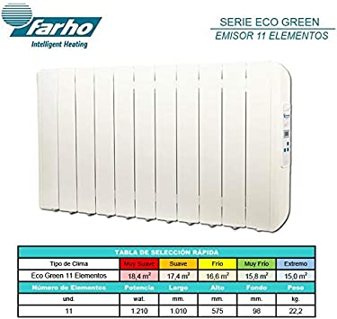 farho Radiador Electrico Eco Green 330W 3 /· Emisor T/érmico con Termostato Digital Programable 24//7 /· Radiadores Electricos Bajo Consumo para estancias de hasta 6 m/² /· 20 A/ÑOS DE GARANT/ÍA