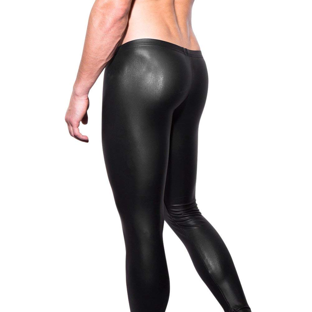 semen Herren Lederhose Leggings Stretch Pants Unterhose Tight Wetlook Schwarz Skinnz Clubwear Stretch PU-Kunsteleder Lederhose XGSF1773-XL-DM