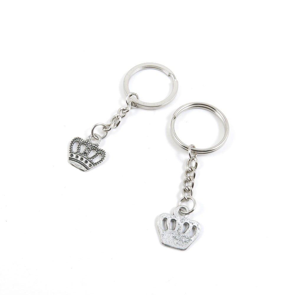 1 Pieces Keychain Door Car Key Chain Tags Keyring Ring Chain Keychain Supplies Antique Silver Tone Wholesale Bulk Lots C1TK4 Crown