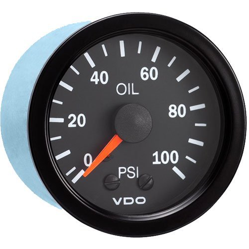 (VDO 150107 Vision Style Mechanical Oil Pressure Gauge 2 1/16