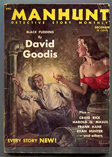 Manhunt Pulp December 1953- Black Pudding- crime fiction G/VG