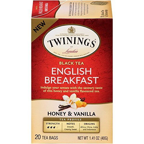 Twinings of London English Breakfast Honey & Vanilla Tea Bags, 20 Count (Pack of 6)