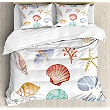Nautical Duvet Cover Set by Ambesonne, Collection of Different Type Seashells Scallop Mollusk Summer Exotic Creatures Animals, 3 Piece Bedding Set with Pillow Shams, King Size, Multi