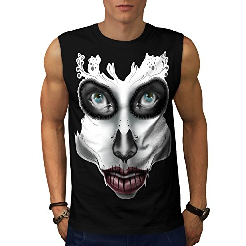 [Sugar Skull Make Up Beauty Face Men NEW S Sleeveless T-shirt | Wellcoda] (Sugar Skull Costume Tumblr)