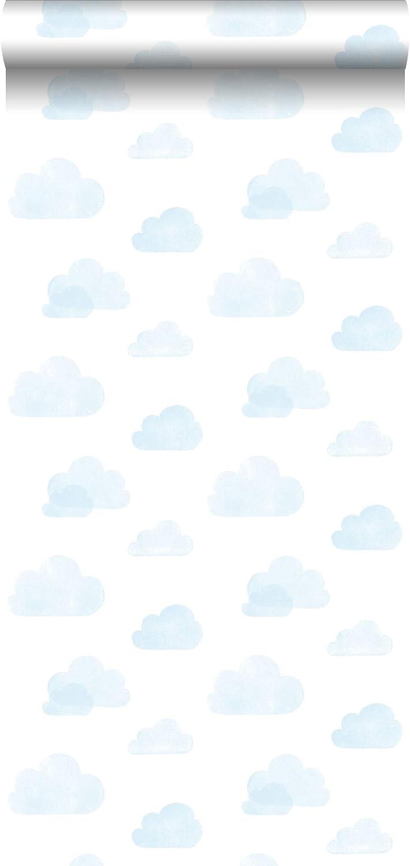 138930 de ESTAhome.nl papel pintado nubes estampadas azul claro y blanco