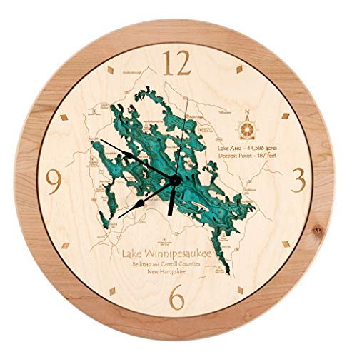 Lake Eunice - Becker County - MN - 3D Clock 17.5 in - Laser Carved Wood Nautical Chart and Topographic Depth map.