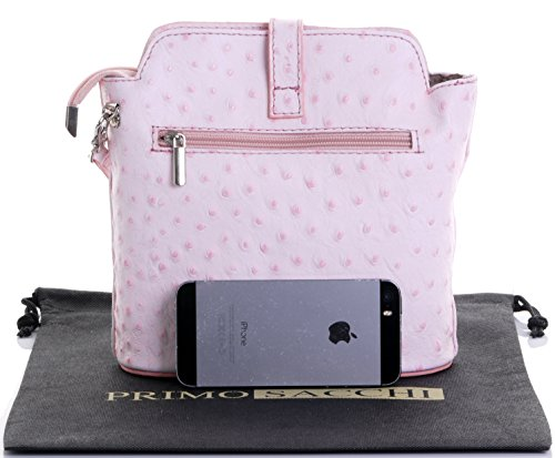 Handbag Front Cross Small Shoulder Baby Body Effect Leather Pink Clasp Italian Ostrich or Bag wIfn1xqY
