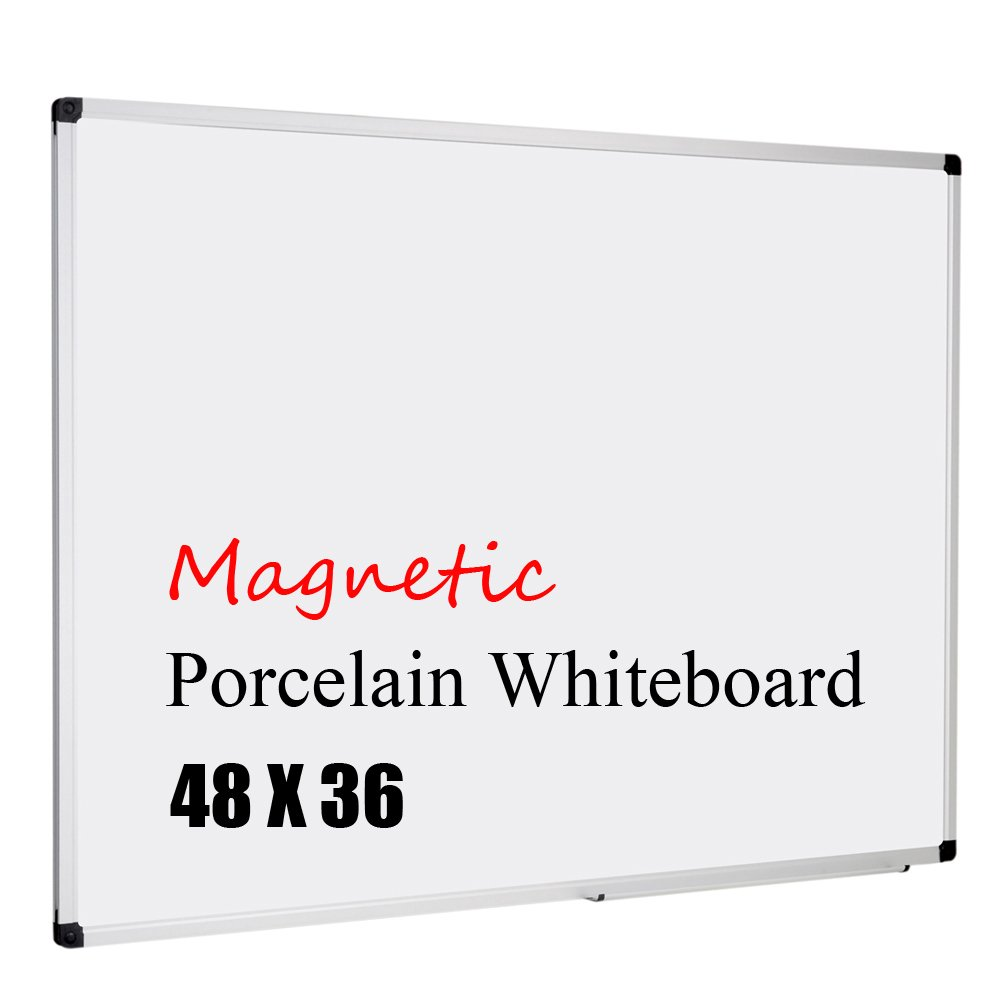 XBoard Porcelain Magnetic Dry Erase Board, 48 x 36 Inch, Aluminum Frame, Office Whiteboard with Removable Marker Tray