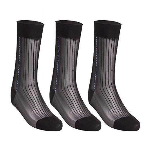 YiZYiF Men's Sheer Silk Jacquard Over the Calf Striped Thin Summer Socks (3 Pairs) Coffee