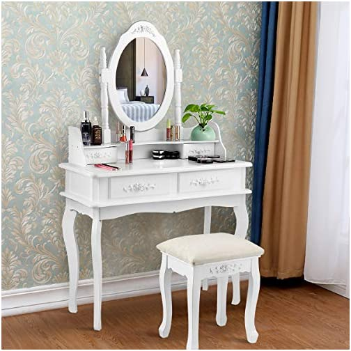 CHARMAID Makeup Table with Rotatable Mirror and 4 Drawer, Princess Girls Women Dressing Table with Cushioned Stool…
