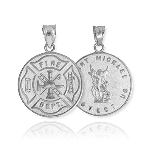 American Heroes 10k White Gold Fireman Protection Shield Medal of St Michael Firefighter Charm Pendant