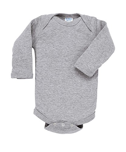 Rabbit Skins 100% Cotton Infant Baby Long Sleeve Bodysuit [Size 6 Months] Heather Gray Long Sleeve Onesie