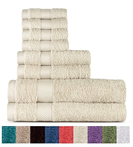 Welhome 100% Cotton 8 Piece Towel Set ; 2 Bath Towels, 2 Han