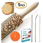 """Paisley Embossed Rolling Pin 16"""" Engraved Rolling Pin for Baking + Cute and Lightweight Wooden Rolling Pin for Kids and Adults to Make Cookie Dough – Attractive Professional Cookie Angel Food 10 START HAVING FUN IN THE KITCHEN WITH ALL YOUR FAMILY. Our textured rolling pin 16 Inch is very easy to use, so have some fun using this engraved rolling pin with your whole family. This embossed rolling pin can be used for fancy pastry decorations, cake decorations, shortbreads, basic biscuits, play dough, and even clay. This wood rolling pin can also be used as a kid's toy. EASY TO CLEAN:You only need to wash under running water and dry in the air,they will not take up too much space in the kitchen drawer ROLLING-PINS can be a really nice housewarming and pretty gift for your friends, kids and your kitchen."""