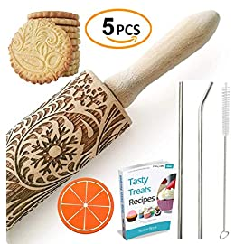 "Paisley Embossed Rolling Pin 16"" Engraved Rolling Pin for Baking + Cute and Lightweight Wooden Rolling Pin for Kids and Adults to Make Cookie Dough - Attractive Professional Cookie Decoration 9 START HAVING FUN IN THE KITCHEN WITH ALL YOUR FAMILY. Our textured rolling pin 16 Inch is very easy to use, so have some fun using this engraved rolling pin with your whole family. This embossed rolling pin can be used for fancy pastry decorations, cake decorations, shortbreads, basic biscuits, play dough, and even clay. Why not get your kids involved too! EASY TO CLEAN:You only need to wash under running water and dry in the air,they will not take up too much space in the kitchen drawer ROLLING-PINS can be a really nice housewarming and pretty gift for your friends, kids and your kitchen."