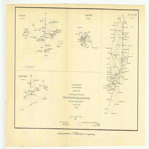 24 x 36 Giclee Print Nautical Map or Image of Sketch F Number 2 Showing the Progress of the Survey of Cedar Keys, Bahia Honda, Key Biscayne, Key West and Dry Tortugas in Section Number 6 1851 NOAA 97a